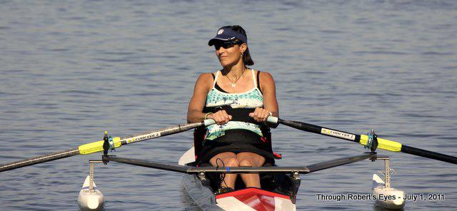 Trish at rowing trials
